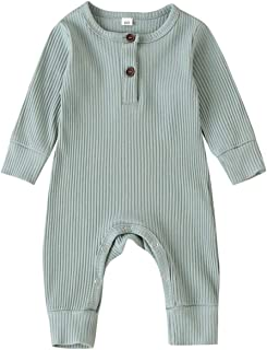 Baby Boys Girls Button Up One Piece Bodysuit Moonhey Unisex Cotton Gentleman Romper