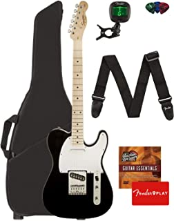 Fender Squier Affinity Series Telecaster Guitar - Maple Fingerboard, Black Bundle with Gig Bag, Tuner, Strap, Picks, and Austin Bazaar Instructional DVD