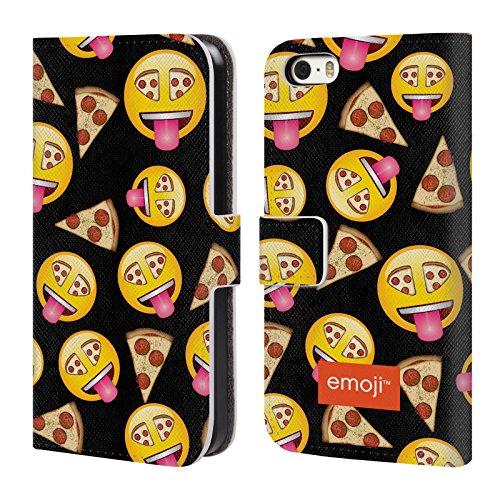 Oficial Emoji Pizza Nuevas Expresiones Carcasa de Cuero Tipo Libro Compatible con Apple iPhone 5 / iPhone 5s / iPhone SE 2016