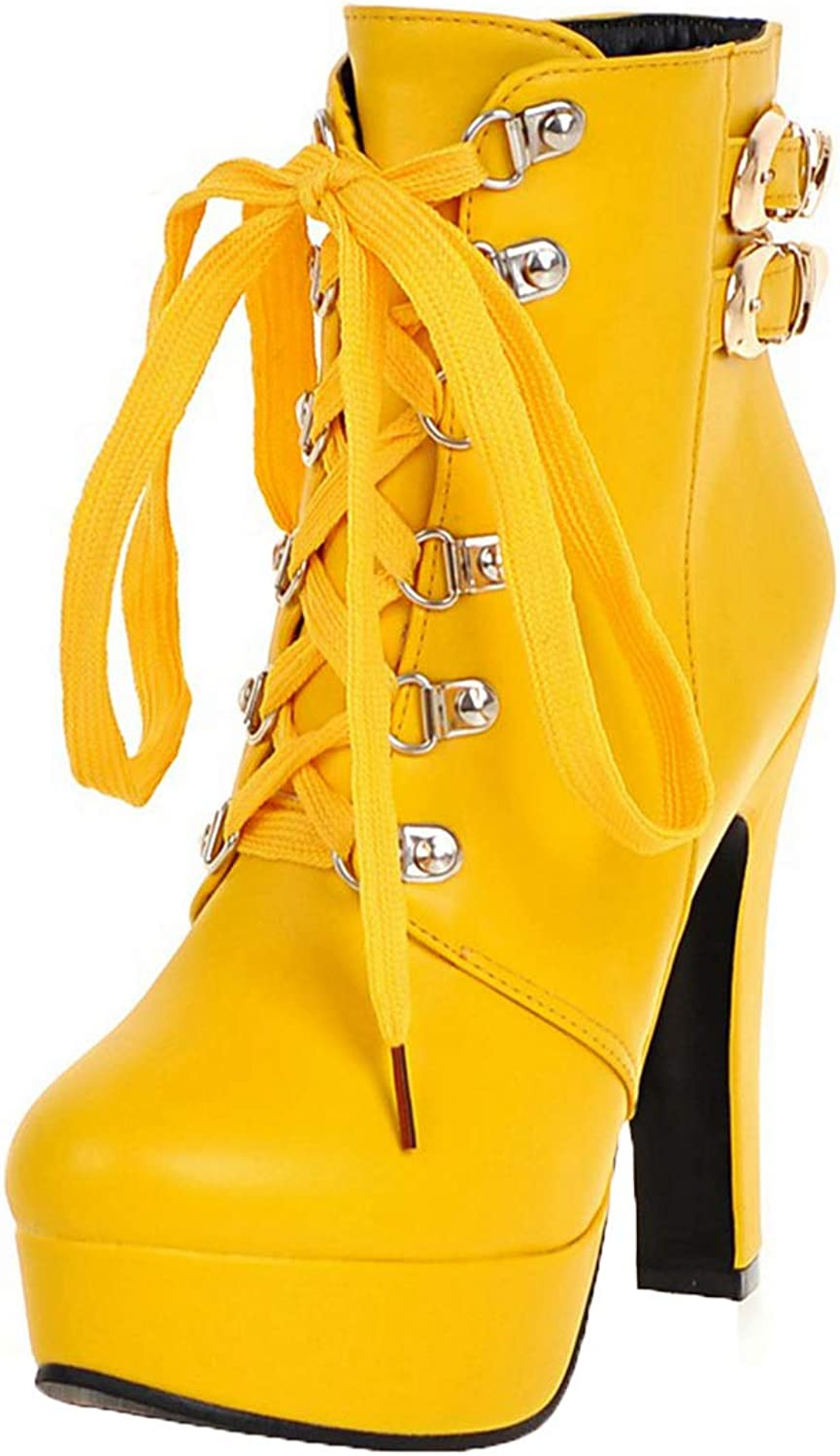 Vitalo Womens Platform High Heel Lace Up Ankle Boots Dress Short Booties Size 4.5 B(M) US,3 Yellow
