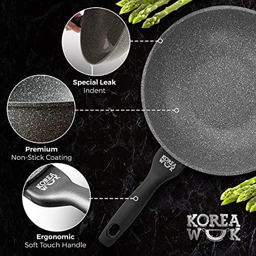 Sarten Wok Antiadherente de Aluminio Fundido, Wok Sartenes Antiadherentes 30cm Ø | Wok Vitrocerámica o Sarten Wok Induccion Tipo Cazuela | Wok Profesional Incluso para Cocina de Granito, Piedra