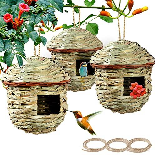 PiiSheou Humming Hanging Bird Houses for Outside, Hand Woven Hummingbird...