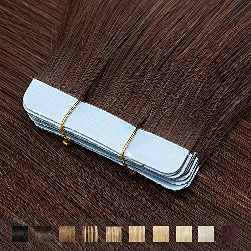 TESS Tape Extensions Echthaar Mittelbraun #4 Klebeband Haarteile Tape in Haarverlängerung Remy Human Hair Glatt 10 Stück 24