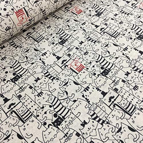 Tela por metros de loneta estampada digital - Ancho 280 cm - Largo a elección de 50 en 50 cm | Gatos y perro - Beige, negro, rojo