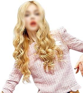 HOHYLLYA 女性用中部耐熱パーティーかつらのための自然な外観のオンブルブロンドのかつら長い巻き毛の合成かつら (色 : Blonde, サイズ : 70cm)