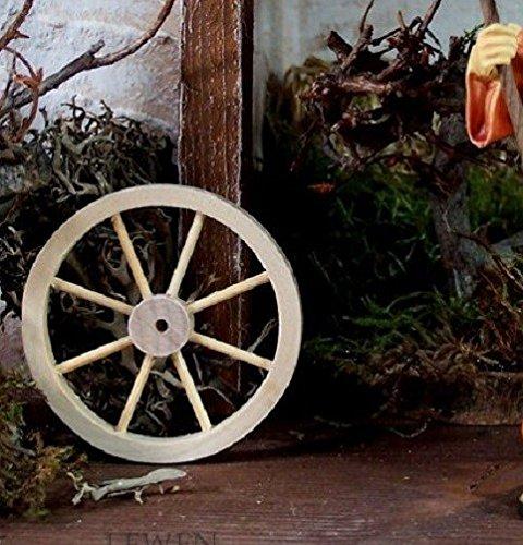 Miniatur Deko- Wagenrad . Natur belassen. Größe: Höhe 5 cm. Weihnachtskrippe. W435.