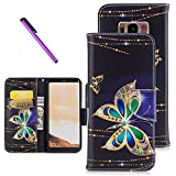 Galaxy S8 Samsung Galaxy S8 case ISADENSER Wallet Case with Card/Cash Slots [Kickstand] PU Leather Folio Flip Protective Case Cover for Samsung Galaxy S8 Ink Butterfly