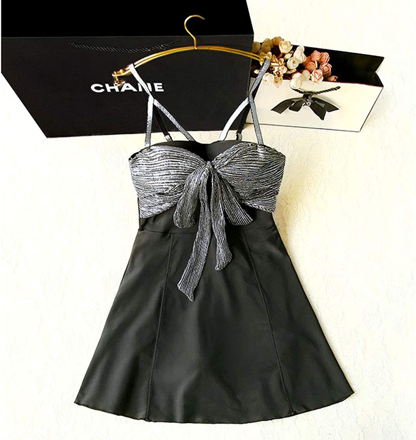 Bathing Suits for Women, High Waisted Swimsuit Cute Sexy Swimwear High Waisted Bikini Black Sexy Sling Bow Halter Dress Swimsuit for Lady