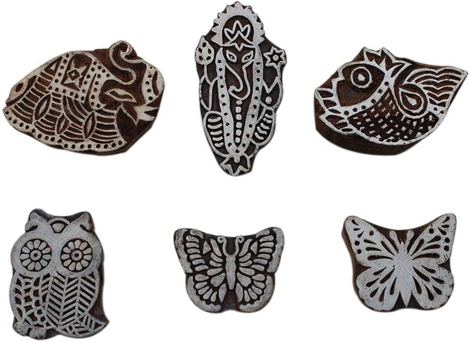 IndianShelf Handmade Brown Set of 6 New Ranking TOP3 Mix Wooden Same day shipping Bloc Printing