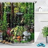 XCMMK Cortina de Ducha Impermeable,3D Bonsai de jardín y Setas Impresión Diseño Cortina de Baño/Ducha/Bañera 100% Poliéster con 12 Anillos(150*180 cm)