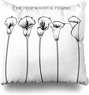 Ahawoso Throw Pillow Cover Decorative Square 20x20 Blossom Drawing Abstract Flower Calla Lily Nature Sketch Graphic Black Floral Vintage White Isolated Zippered Pillowcase Home Decor Cushion Case