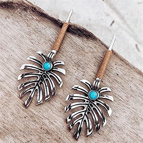 TYUTYU Vintage Metal Hueco Hojas Coco Palma Hoja Grande Playa Pendientes para Las Mujeres Regalo Colgante (Metal Color : Earring)