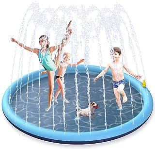BOIROS Tapis Jet d'eau, 170cm Tapis de Pulvérisation d'eau PVC, Splash Pad Antidérapant, Jeux d'eau Exterieur pour Enfants...