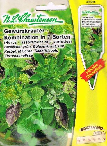 Gewürzkräute Saatband - Kombination in 7 Sorten Basilikum grün Bohnenkraut Dill Kerbel Majoran Schnittlauch Zitronenmelisse ( mit Stecketiketten)