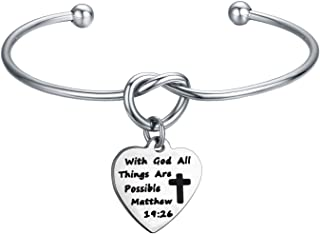 With God All Things Are Possible Knot Bangle First Communion Bracelet Gift (with god cuff)