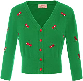 Women's 3/4 Sleeve V-Neck Button Down Cherries Embroidery Cropped Cardigan Sweater Coat