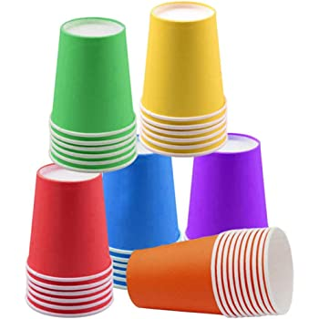 60 Piezas Vasos de Papel Desechables Tazas de fiesta, Vasos Carton de Colores Biodegradables 9 Ounces para Servir el Café, el Té, Bebidas Calientes y Frías ,Bodas , Bricolaje