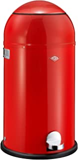 WESCO Liftmaster-German Designed-Step Trash Can, Powder Coated Steel, 33 L, Red, 34.6 x 34.6 x 71 cm