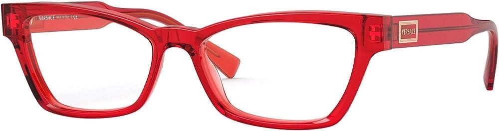 Versace montatura occhiali da vista trasparente rossa in acetato di cellulosa di alta qualità VE3275 5323 51