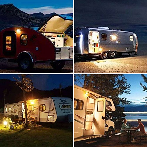 Kohree LED RV Porch Light Exterior Utility 12V Lighting Fixture LED Panel, 320 Lumen, Replacement Lighting for RVs, Trailers, Campers, 5th Wheels. White Base, Clear and Amber Lenses Included 2 Packs