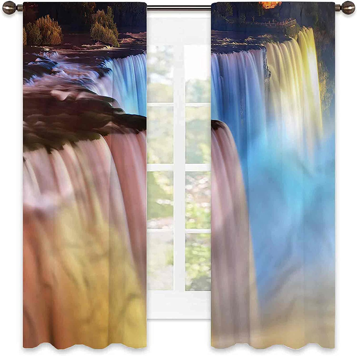 Waterfall Heat Insulation Curtain Cascade Colorful Stream Livi Max 44% OFF SEAL limited product
