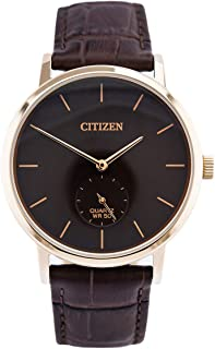 Citizen Men's Brown Leather Watch Model BE9173-07X Leather,Stainless Steel 3 Hands,Splashproof 4974374268242 Gold