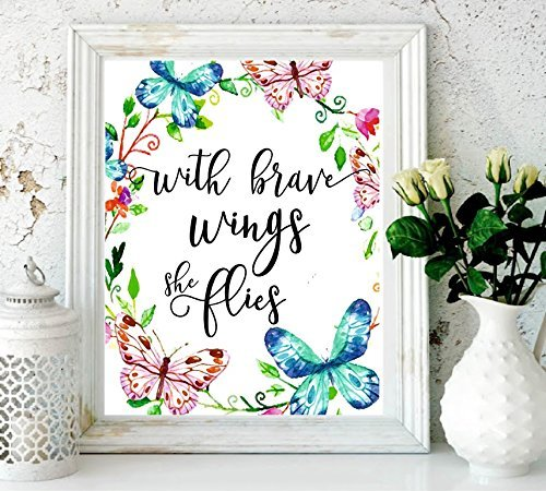 Nursery Decor with Brave Wings She Flies Butterfly Wall Quotes Tropical Print Quote Print Watercolor Nursery Art Holiday Supplies Colorful Wall Art-Kids Room Decor Butterfly Print