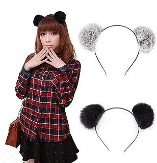 eyxformula Pom Ball Cat Ear Headband, Lovely Rabbit Ears Headband Hair Holder Hairband Hair Accessories for Halloween Christmas Party Birthday Cosplay (Gray and Black)