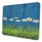 Blume personalisierte Mauspad frisches Frühlingsgras und Gänseblümchen auf Zaun Sommer einfache Vintage-Stil Druck Dekor ergonomisch gestaltete Mauspad blau grün weiß