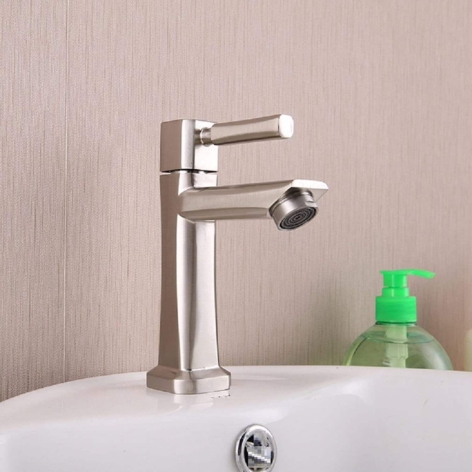 AMZH Hot And Cold Taps Stainless Steel Kitchen Sink Tap Wash The Pot Mixed Water Valve Bending Faucet