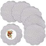 Tovaglietta grigia rotonda Flower set di 6 pezzi di tovaglietta in pelle PU, con tappetino antiscivolo lavabile esterno resistente al calore goffrato utilizzata per il matrimonio al coperto all'aperto
