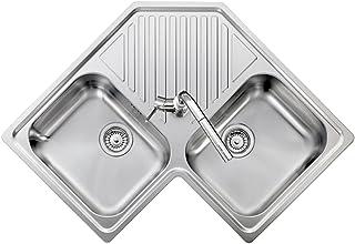 PLADOS REFRESH 8320 - Fregadero de esquina de acero inoxidable satinado