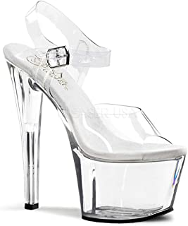 Pleaser Women's SKY308/C/M  Dress Sandal, Clear White,