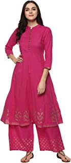 Bhama Couture Women's Cotton Anarkali Salwar Suit Set (Pack of 2)