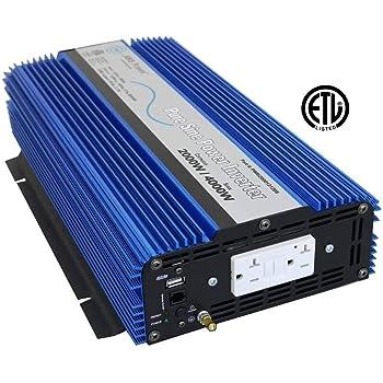 AIMS 2000 Watt, 4000 Watt Peak, Pure Sine DC to AC Power Inverter, USB Port, 2 Year Warranty, Optional Remote, Listed to UL 458