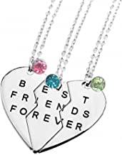 TISDA Best Friends Forever Set of three Necklaces with Shiny crystal on Puzzle Heart Pendants (white)
