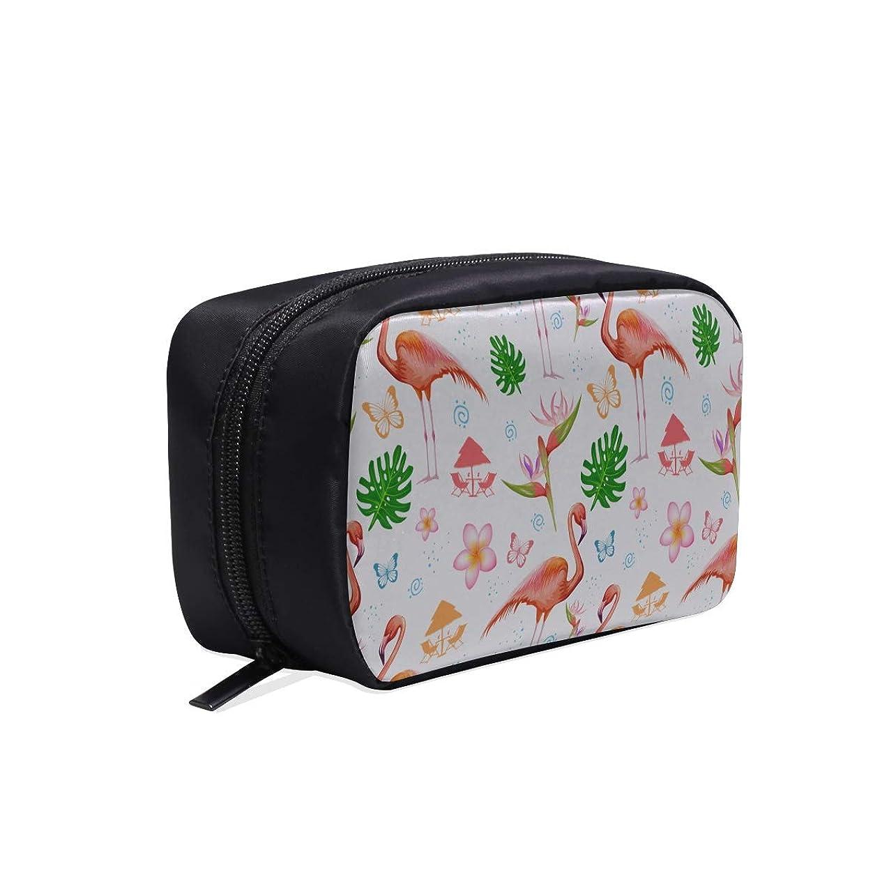 高めるマイコン聖人CWSGH メイクポーチ フラミンゴや木の葉 ボックス コスメ収納 化粧品収納ケース 大容量 収納 化粧品入れ 化粧バッグ 旅行用 メイクブラシバッグ 化粧箱 持ち運び便利 プロ用