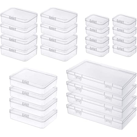 Goodma 24 Pieces Mixed Sizes Rectangular Empty Mini Clear Plastic Organizer Storage Box Containers with Hinged Lids for Small Items and Other Craft Projects