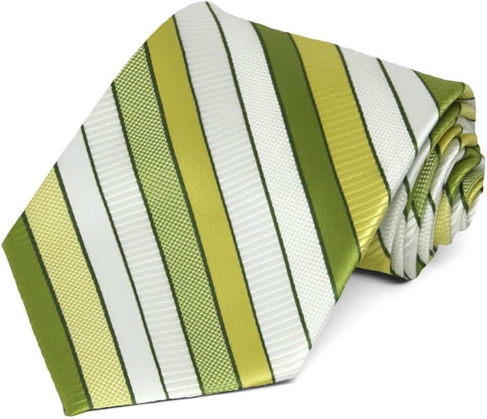 TieMart Asparagus Green Douglas Stripe Necktie