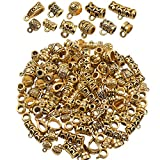 BronaGrand 100g (About 120-150pcs) Mixed Antique Gold Bail Beads,Spacer Bead,Bail Tube Beads,Bracelet Charms,Necklace Pendants for Jewelry and Craft Making