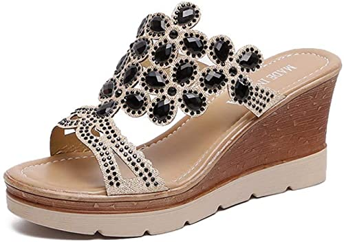 DZKA Sandalen Sommer Hausschuhe Frauen Dias Kristall Damen Flip Flops Strand Plateauschuhe Anti Slip Wedge Schuhe Sandalen