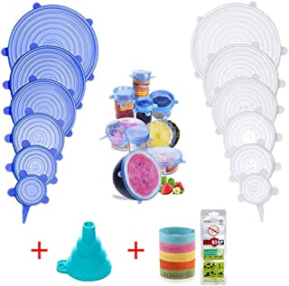 Silicone Stretch Lids Food Insta Cover Reusable 14 Pack Various Sizes Seal Lid Fresh Bowl Cups Instalids Microwave Dishwasher Covers Durable Fit Huggers Replacement Pyrex Expandable Wrap As Seen On TV