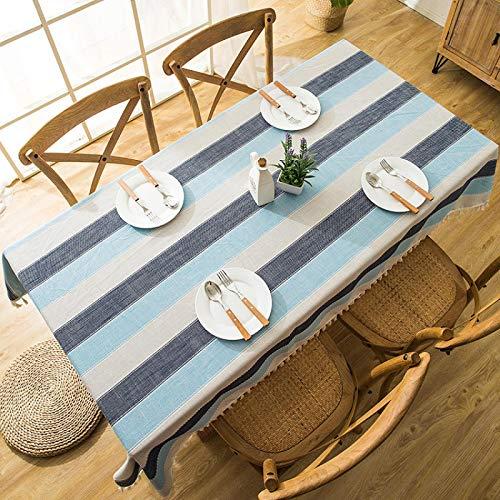 YCZZ Mantel, Mantel de Borla Bordado Jacquard Impermeable nórdico, Mantel Rectangular geométrico, Mantel de Mesa de café 140 * 220cm Rayas Azul grisáceo Manteles