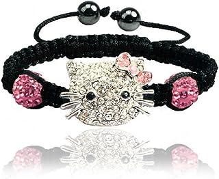 6c56c9b90 Sweet Sparkle Black Hello Kitty Braided Rope Bracelet - Fashion Jewelry for  Girls Bling rhinestone balls