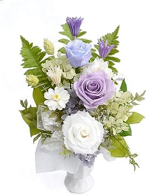 -ゆう 柚-:バラ入り 白紫基調プリザーブド フラワー お供え お盆 初盆 お彼岸 秋 彼岸仏花 フラワー