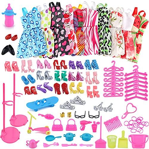 Heyijia Puppenzubehör Set, 108 Stück Puppenzubehör Darunter 10 Röcke 18 Paar Schuhe 2 Handtaschen 78 Spielzeugzubehör, Geeignet für Mädchenpuppen