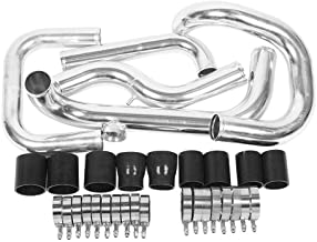 SUNROAD Aluminum Turbo Intercooler Piping Pipe Tube Black & Silicone Coupler & Clamp Kit fit for 1992-2000 Honda Civic 1.6L