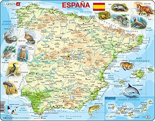Larsen K84 Mapa Físico de España, edición en Español, Puzzle de Marco con 58 Piezas