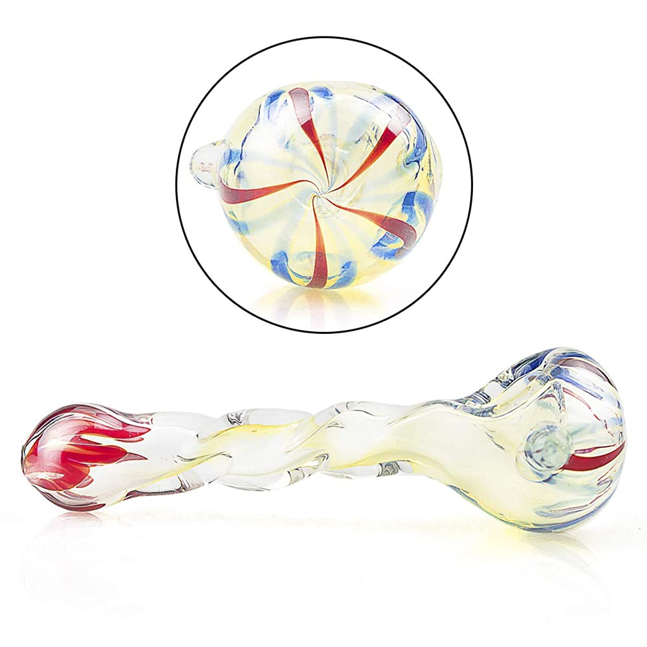 SKMMP Handmade Newest Pipe4.7 Inch Long Heat Resistant Art Collection Unbreakable Yellow Spiral Glass(Color as Shown)