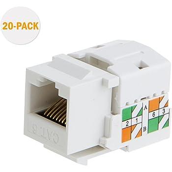 amazon.com: cablecreation 20-pack cat6 rj45 keystone jack module ...  amazon.com